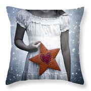 angel with a star Throw Pillow by Joana Kruse
