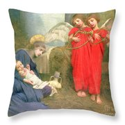 Angels Entertaining The Holy Child Throw Pillow by Marianne Stokes