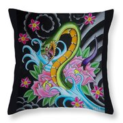 Angry Snake Throw Pillow by Kev G