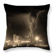 Anheuser-busch On Strikes Black And White Sepia Image Throw Pillow by James BO  Insogna