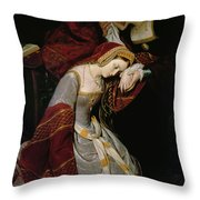 Anne Boleyn In The Tower Throw Pillow by Edouard Cibot