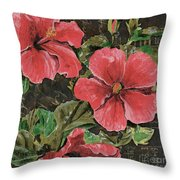 Antique Hibiscus Black 2 Throw Pillow by Debbie DeWitt