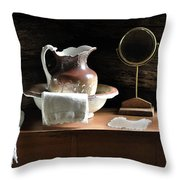 Antique Water Pitcher On Bureau Throw Pillow by Rebecca Brittain