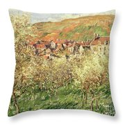 Apple Trees In Blossom Throw Pillow by Claude Monet