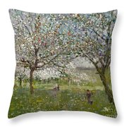 Apple Trees In Flower Throw Pillow by Ernest Quost