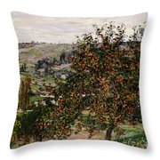 Apple Trees near Vetheuil Throw Pillow by Claude Monet
