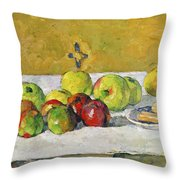 Apples and Biscuits Throw Pillow by Paul Cezanne