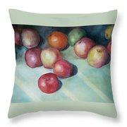 Apples And Orange Throw Pillow by Jun Jamosmos