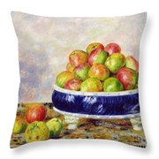 Apples in a Dish Throw Pillow by  Pierre Auguste Renoir