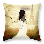 April In Paris Throw Pillow by Shanina Conway
