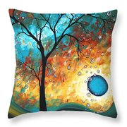 Aqua Burn by MADART Throw Pillow by Megan Duncanson