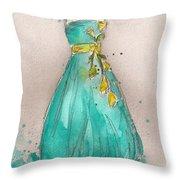 Aqua Dress Throw Pillow by Lauren Maurer