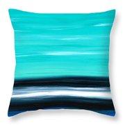 Aqua Sky - Bold Abstract Landscape Art Throw Pillow by Sharon Cummings