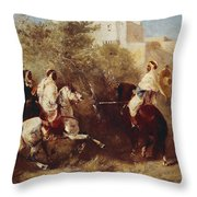 Arab Horsemen Throw Pillow by Eugene Fromentin