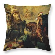 Arab Tribal Chiefs in Single Combat Throw Pillow by Theodore Chasseriau