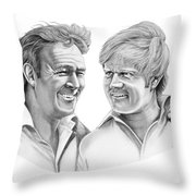 Arnold Palmer-jack Nicklaus Throw Pillow by Murphy Elliott