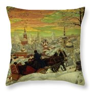 Arriving For The Holidays Throw Pillow by Boris Mihajlovic Kustodiev
