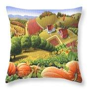 Farm Landscape - Autumn Rural Country Pumpkins Folk Art - Appalachian Americana - Fall Pumpkin Patch Throw Pillow by Walt Curlee