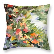 Path Monets Garden Watercolor Paintings Of France Throw Pillow by Beverly Brown