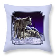 Wolf Painting - Night Watch Throw Pillow by Crista Forest