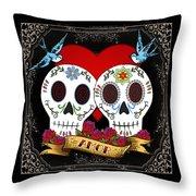 Love Skulls II Throw Pillow by Tammy Wetzel