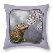 Wolf Pup - Baby Blossoms Throw Pillow by Crista Forest