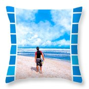 Surfer Hunting For Waves At Playa Del Carmen Throw Pillow by Mark E Tisdale
