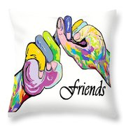 Friends . . . An American Sign Language Painting Throw Pillow by Eloise Schneider