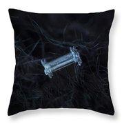 Snowflake Photo - Capped Column Throw Pillow by Alexey Kljatov