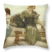 Ask me no more....for at a touch I yield Throw Pillow by Sir Lawrence Alma-Tadema