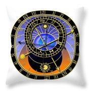 Astronomical Clock Throw Pillow by Michal Boubin