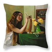 At The Dressing Table Throw Pillow by Felix Edouard Vallotton