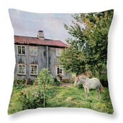 At The Farm Throw Pillow by Gerhard Peter Frantz Vilhelm Munthe