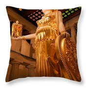Athena with Nike Throw Pillow by Kristin Elmquist