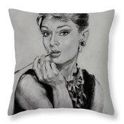 Audrey Hepburn Throw Pillow by Ylli Haruni