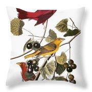 Audubon: Tanager Throw Pillow by Granger