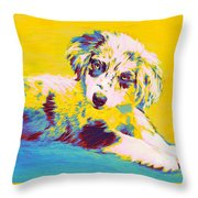 Aussie Puppy-yellow Throw Pillow by Jane Schnetlage