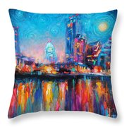 Austin Art Impressionistic Skyline Painting #2 Throw Pillow by Svetlana Novikova