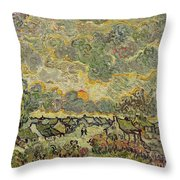 Autumn Landscape Throw Pillow by Vincent Van Gogh