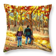 Autumn  Stroll On Mount Royal Throw Pillow by Carole Spandau