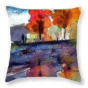 Autumn Walk Throw Pillow by Anne Duke