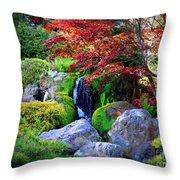 Autumn Waterfall Throw Pillow by Carol Groenen