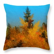 Autumnal Forest Throw Pillow by David Lane