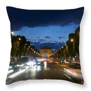 Avenue Des Champs Elysees. Paris Throw Pillow by Bernard Jaubert
