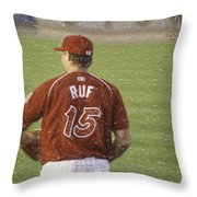 Babe Ruf Throw Pillow by Trish Tritz