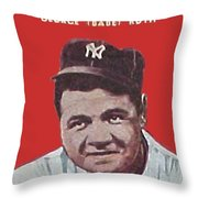 Babe Ruth Throw Pillow by Paul Van Scott