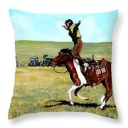 Babette Rides Again Throw Pillow by Tom Roderick