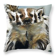 Badger - Guardian Of The South Throw Pillow by J W Baker