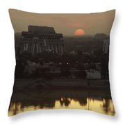 Baghdad And The Tigris River At Sunset Throw Pillow by Lynn Abercrombie