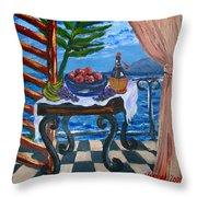 Balcony By The Mediterranean Sea Throw Pillow by Karon Melillo DeVega